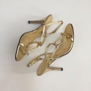 Anne Klein gold strappy sandals